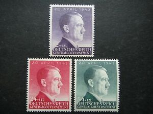 Germany Nazi 1943 Stamps MNH Adolf Hitler 54th birthday WWII Third Reich Poland