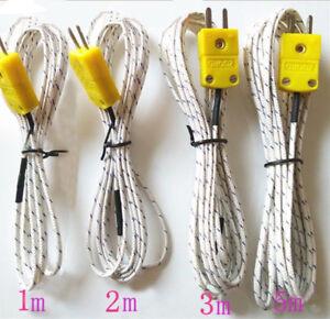 K Type Temperature Sensor 1m 2m 3m 5m 15m Thermocouple Wire 12.5mm Probe Cable