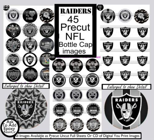 Raiders NFL Team Team Logos-Silver /& Black 45 Precut Bottle Cap Images