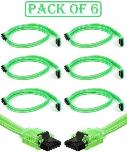 6x 18inch SATA 3.0 III SATA3 SATAiii 6GB HDD Hard Drive Data Cable UV Green Cord