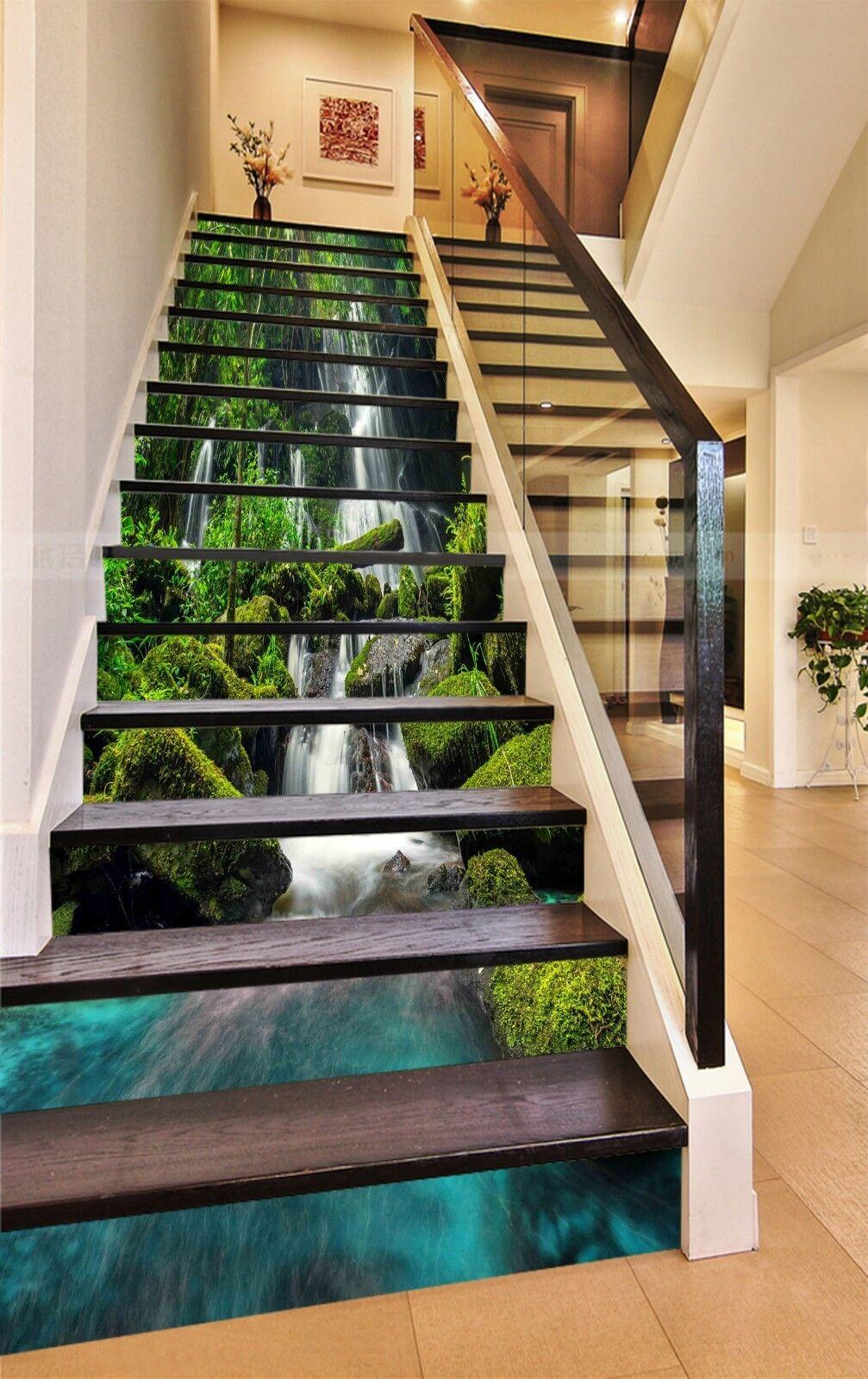 3D Grner Fluss 355 Stair Risers Dekoration Fototapete Vinyl Aufkleber Tapete DE