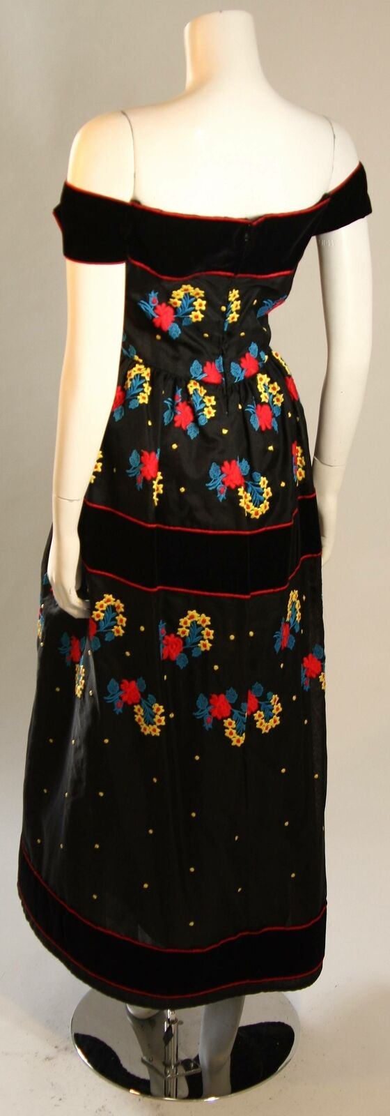 ARNOLD SCAASI Black Velvet Embroidered Gown with … - image 2