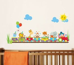 Train Wall Decor baby animal circus train wall decal stickers nursery wall decor