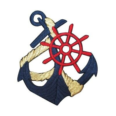 Nautical Ships Wheel W//Rope /& Flags Embroidered Iron On Patch OCEAN