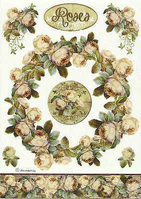 Rice Paper for Decoupage Scrapbooking Sheet Craft Roses Bordure