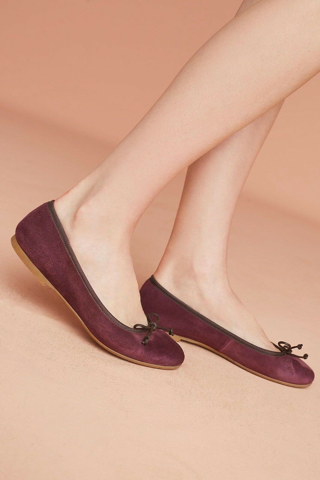 ANTHROPOLOGIE ELIA.B FLATS color PURPLE PLUM SUEDE BALLERINA ITALY SZ 39