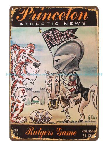 home decor plaque Princeton v Rutgers Football Program 1968 tin sign