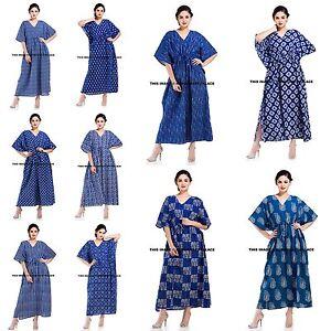 Anokhi-Organic-Indigo-Art-Deco-Block-print-Indian-cotton-Tunic-Long-Kaftan-Gown