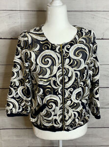 Chico's Traveler Collection Scrolls Bomber Jacket Sz Small 4 NWT $139