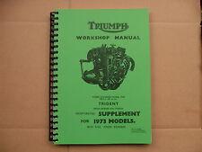 TRIUMPH TRIDENT T150, T150T, T150V NEW WORKSHOP MANUAL  ALL MODELS 1969 - 1974
