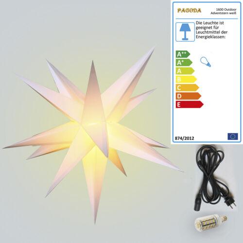 3D Deko Outdoor Adventsstern 55cm mit 6W LED Birne Weihnachtsstern Leuchtstern