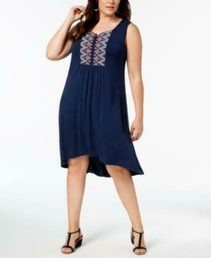 9ef228f91493 Style Co Plus Size 1x Embroidered Swing Dress Blue 1x for sale ...