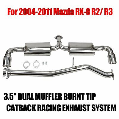 SE3P For Mazda RX-8 Catback Exhaust System 3.5 inches Dual Path Burn Tip Muffler