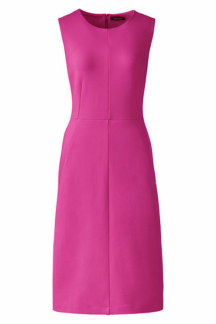 Lands End Women's Sleeveless Ponte Sheath Dress Rich Magenta New