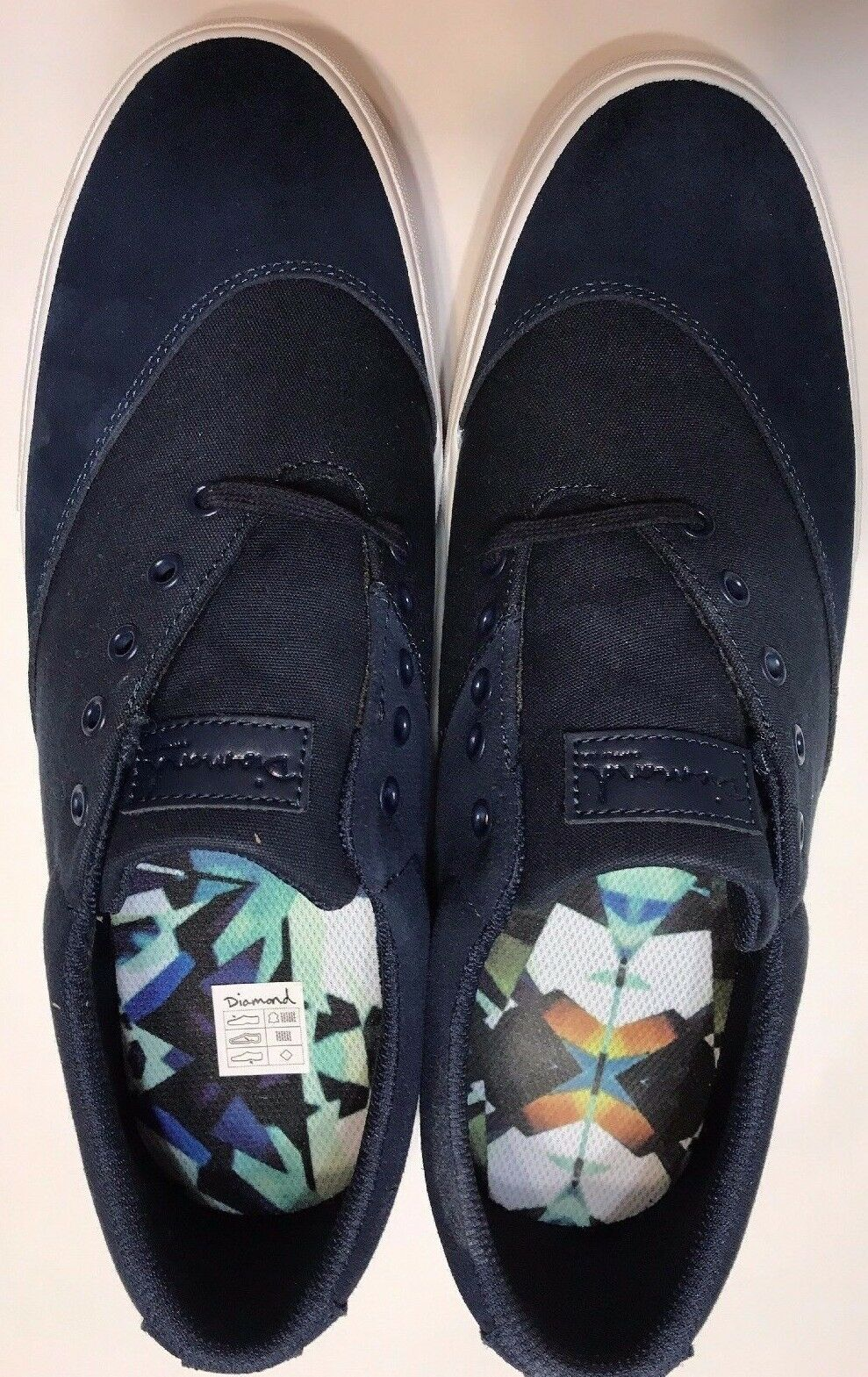 Men's Shoes Diamond Supply Co Avenue Skateboard Sneaker Canvas Navy Blue Size 12