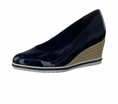 047fcdbac48 Tamaris 22441 Navy Patent Espadrille Wedge Shoes With Touch It Insoles |  eBay