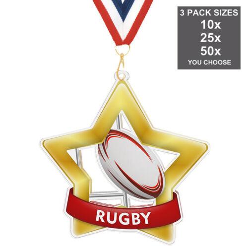 pack de 10 avec rubans Rugby Super étoile acrylique médaille 60mm-80mm pack de 3 tailles