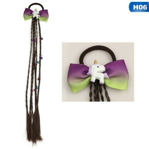 Girl Unicorn Hair Bow Bowknot Hairband Kids Wig Ponytail