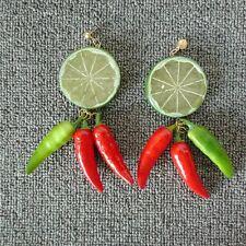 Cute Pepper String Fruit Earring Green Lemon Ear Stud Hawaii Beach Jewelry Women