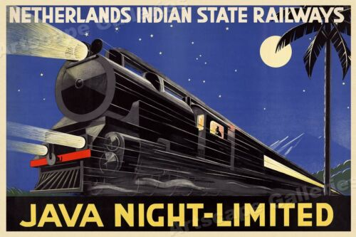 Java Night Limited 1930s Vintage Style Railway Travel Poster 20x30
