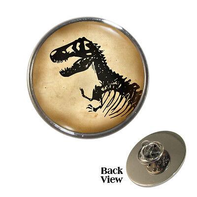 Dinosaur Skeleton Metal Pin Badge t-rex tyranasaurus fossil archeology button BN