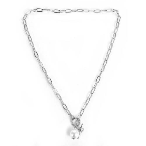 Punk Gothic Pearl Pendant Choker Statement Necklace Women Wedding Chain Jewelry~