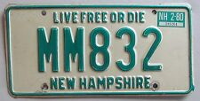 New Hampshire 1980 VANITY License Plate MM832
