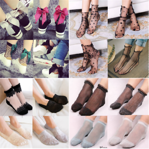 Women-Lace-Ribbon-Socks-Transparent-Floral-Mesh-Bow-Fishnet-Sock-Sox-Hosiery-Hot