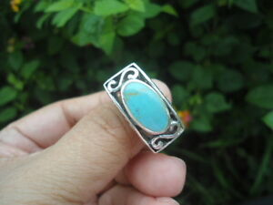Sterling-Silver-Scroll-Turquoise-Oval-10-1g-Ring-S9-0-ChunKY-BIG-Huge