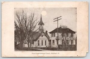 Highland-Illinois-First-Congregational-Church-Wooden-Fence-Foreground-1908-B-amp-W