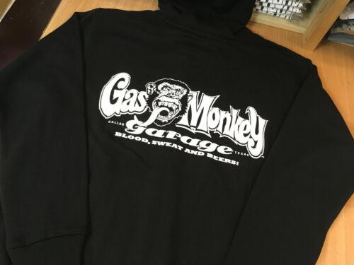 Etiquetas Gas monkey garage sudadera con capucha para hombre negro con cremallera superior trasero impresión Pequeño Nuevo