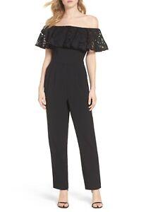 12 Lace Stretch Crepe New J Pant Shoulder Jumpsuit Eliza Ruffle Black Off Modern 0X70f