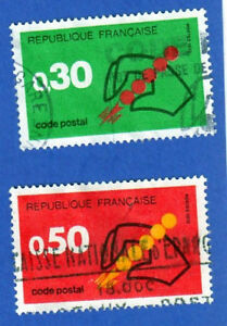 TIMBRES-1972-LE-CODE-POSTAL-SERIE-2-TIMBRES-OBLITERES