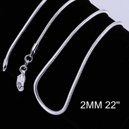 """925 Silver Filled 2MM Chain Necklace For Pendants 16/""""18/"""" 20/"""" 22/"""" 24/"""" Promotion!"""