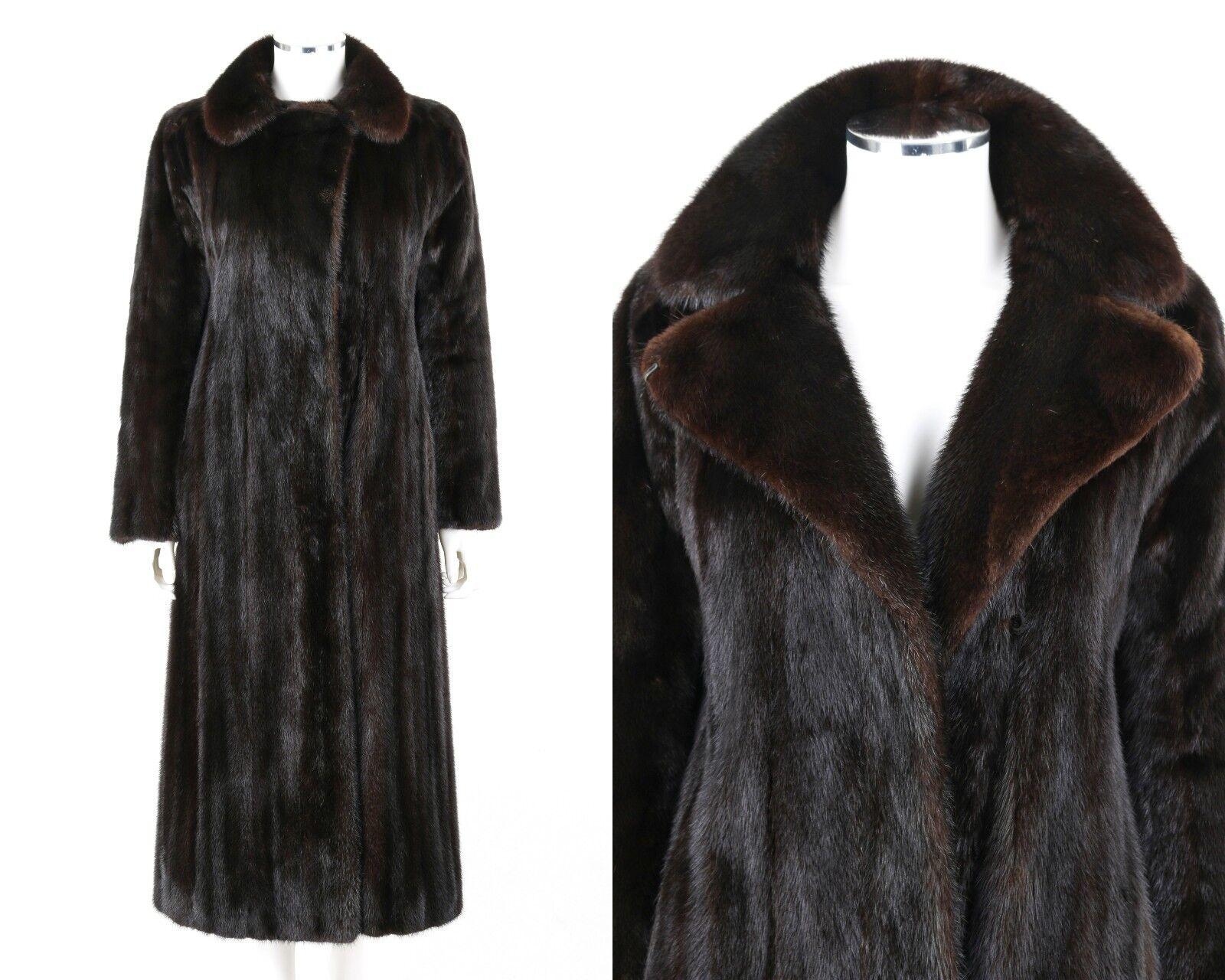 REVILLON Saks Fifth Avenue Oscuro Marrón Genuino  Chaqueta de Abrigo de longitud completa de piel de visón M  alta calidad general