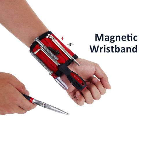 Strong Magnetic Wristband Tool Holding Screws Nails Drill Bits Handyman 5 Rows