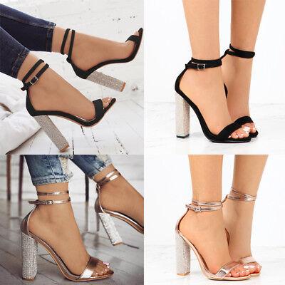 <b>Women</b> Glitter Open Toe Ankle Strap Pump Sandal Block <b>Chunky</b> ...