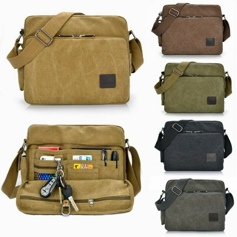 Men/'s Shoulder Bag Crossbody Canvas Leather Satchel Military Messenger Handbag