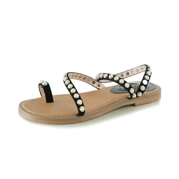 Sandales élégant basses chaussons noir légers confortable comme cuir 9950