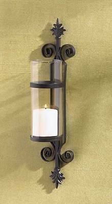 French Fleur De Lis Hanging Metal Scrollwork Wall Pendant Lantern Candle Holder