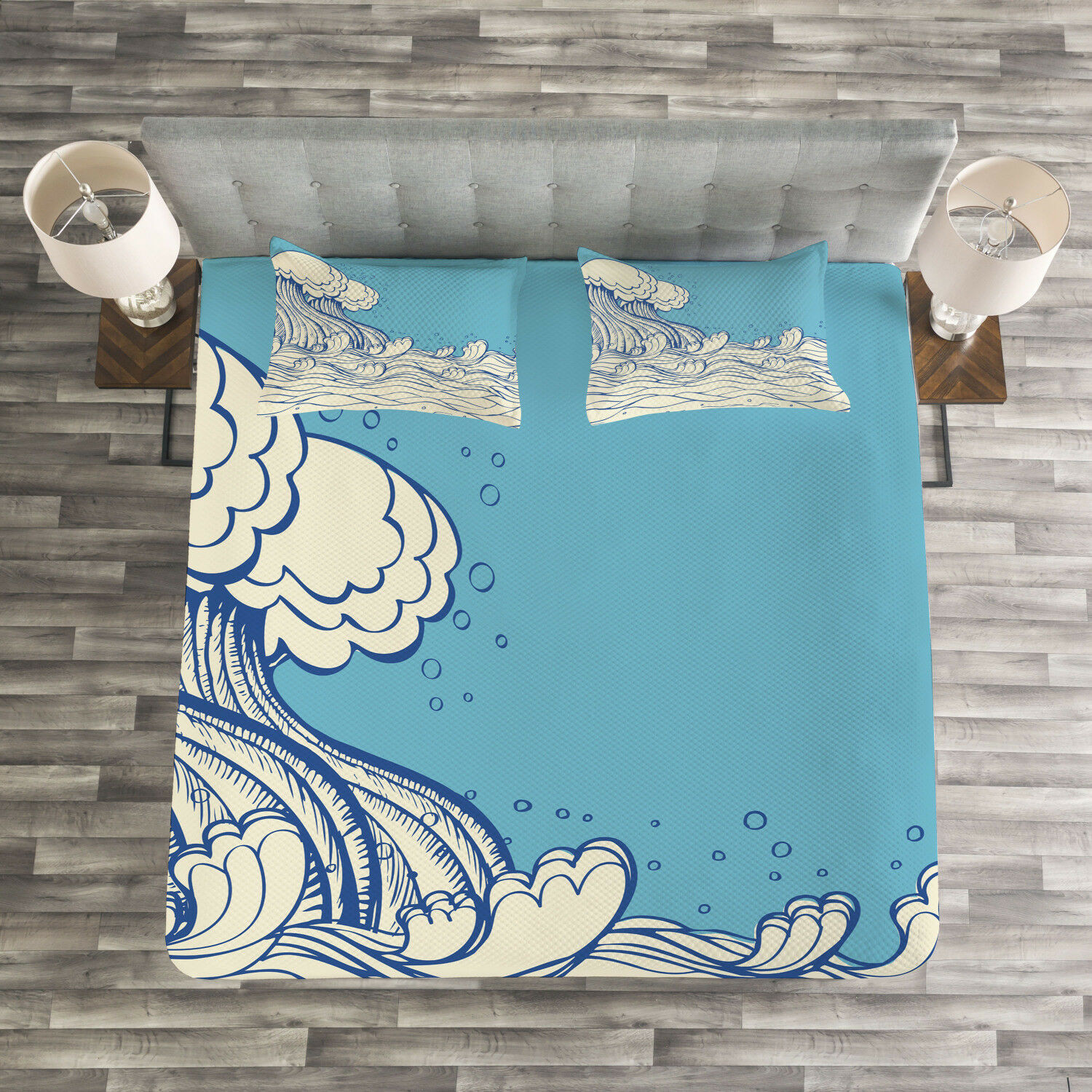Nautical Quilted Bedspread & Pillow Shams Set, Abstract Doodle Wave Print