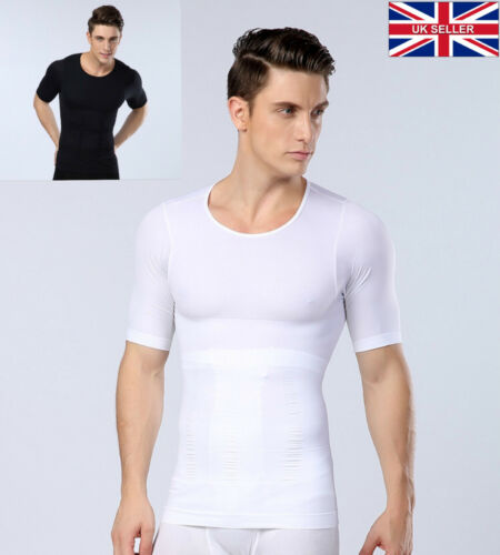 UK COMPRESSION SLIMMING STOMACH FLATTENING GYNECOMASTIA MOOBS SHIRT VEST FOR MEN