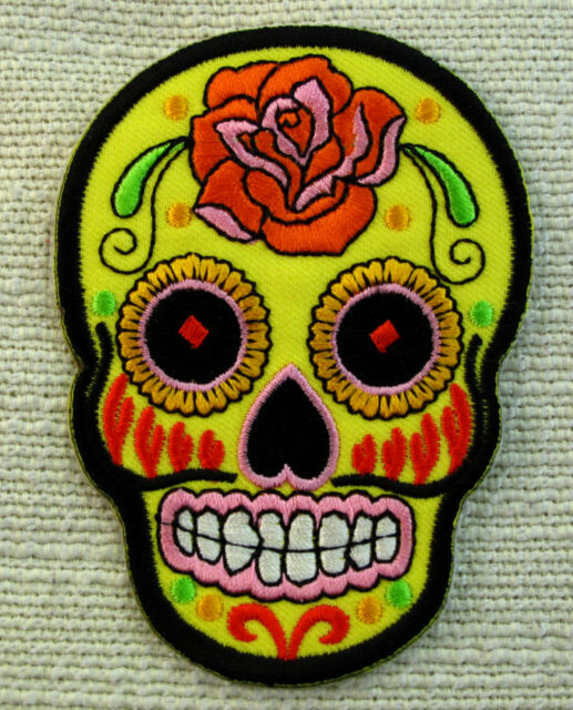 FLOWERED SKULLS 5 COLOURS Embroidered Iron Sew On Patch Goth punk Rockabilly