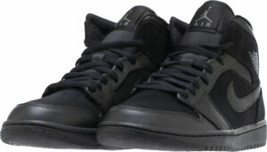 238d9a0ded92 554724-050 Men s Air Jordan Retro 1 Mid Black Black White Sizes 8-14 ...
