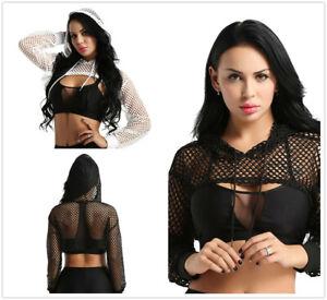 Womens Long Sleeve See Through Mesh Fish Net Crop Top Hoodies Sweatshirt Black