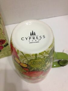 Cypress Home Latte Coffee Tea Mug 19 oz Poppies Butterflies Leaves Gift Box