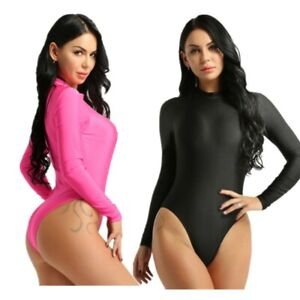 Women-Stretch-Leotard-Bodysuit-One-Piece-Bikini-Swimwear-Long-Sleeve-T-Shirt-Top