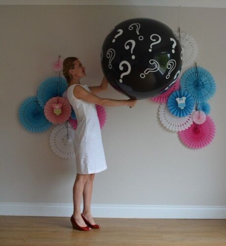 Gender Reveal Balloon 3 feet Pop Balloon He or She XL Round Confetti Boy or Girl