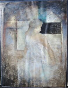 Richard-Franklin-Untitled-Woman-Original-Signed-Acrylic-Painting-on-Canvas