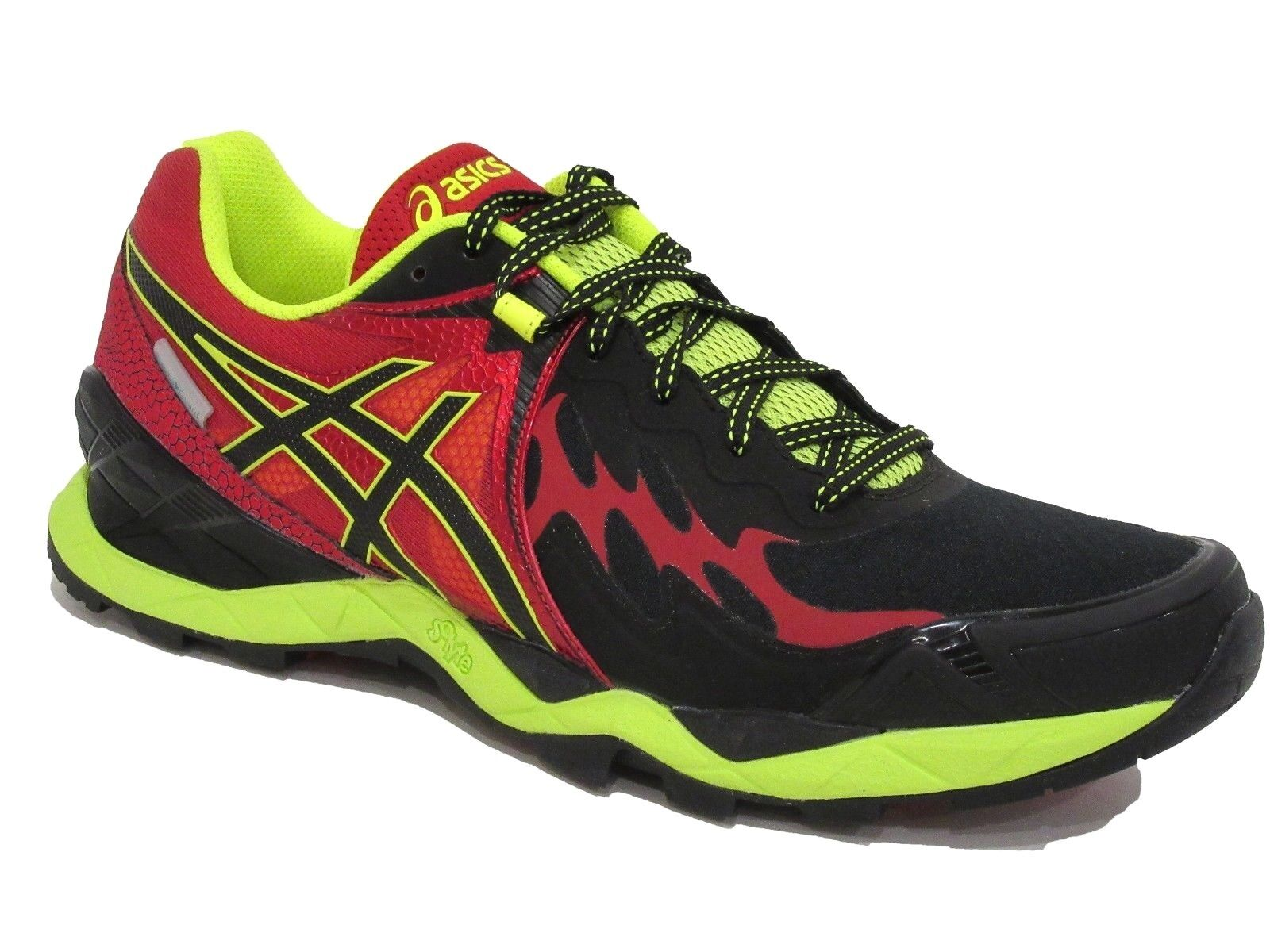Asics Hombre Gel Fuji Endurance calzado para correr, negro rojo ónix Racing